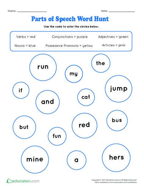 Kindergarten Reading & Writing Worksheets: Parts of Speech Word Hunt