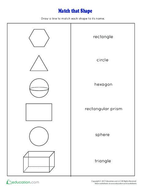 First Grade Math Worksheets: Match That Shape