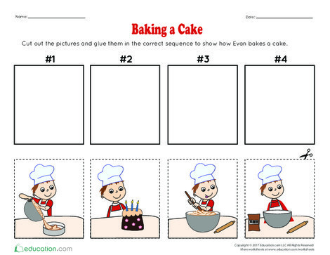 Kindergarten Reading & Writing Worksheets: Baking a Cake