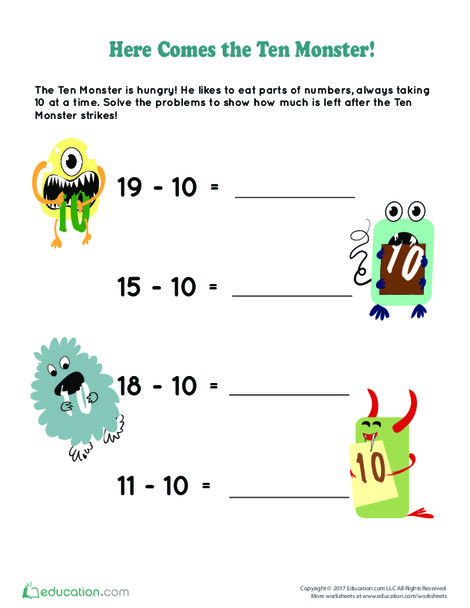 First Grade Math Worksheets: Here Comes the Ten Monster!