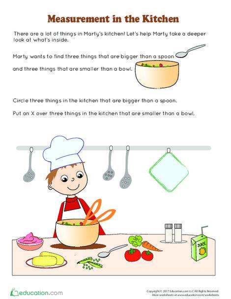 Kindergarten Math Worksheets: Measurement in the Kitchen