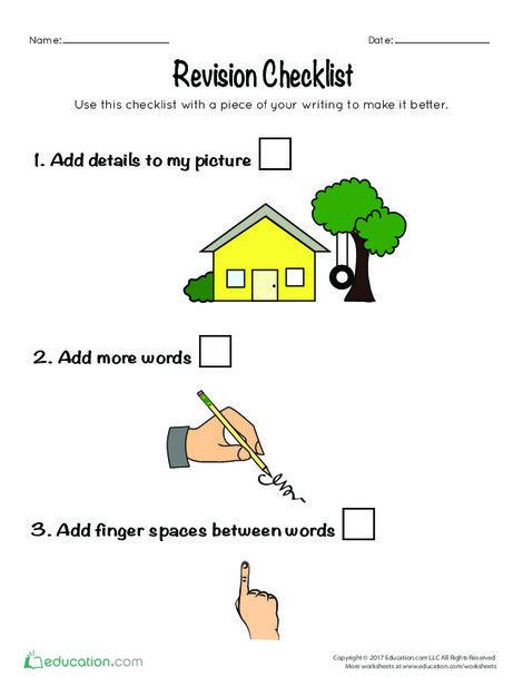 Kindergarten Reading & Writing Worksheets: Writing Revision Checklist