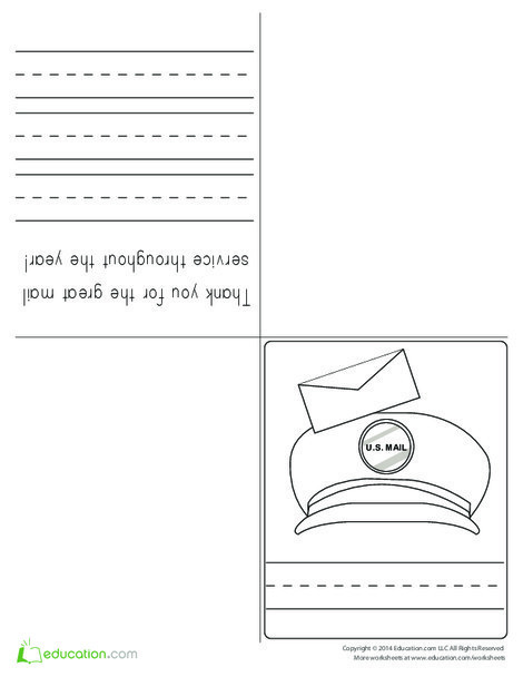 First Grade Seasons Worksheets: Mail Carrier Thank You Card