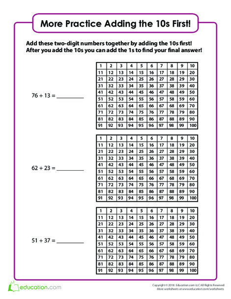 Second Grade Math Worksheets: Add the 10s First! (Part Two)