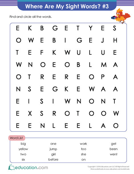 First Grade Reading & Writing Worksheets: Where Are My Sight Words? #3