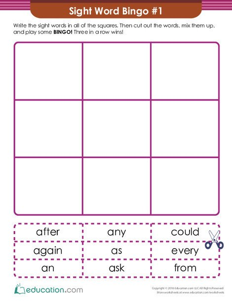 First Grade Reading & Writing Worksheets: First Grade Sight Words Bingo Game #1