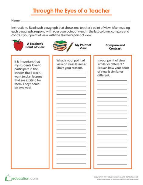 Third Grade Reading & Writing Worksheets: Through the Eyes of a Teacher