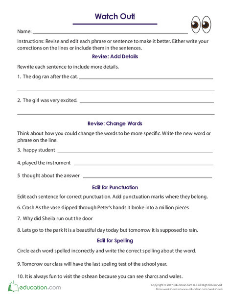 Fifth Grade Reading & Writing Worksheets: Watch Out!