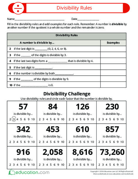 Fourth Grade Math Worksheets: Learn About Divisibility Rules
