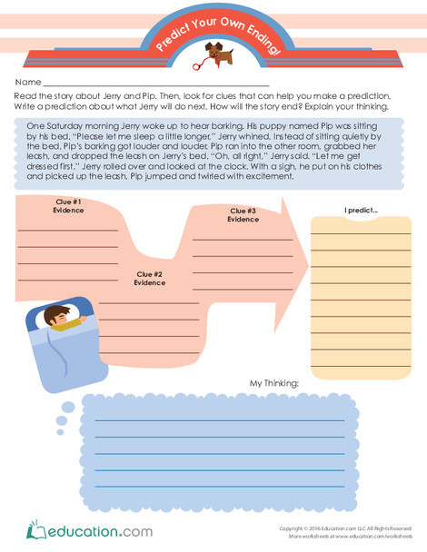 Third Grade Reading & Writing Worksheets: Predict Your Own Ending