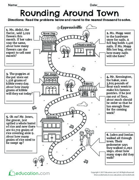 Fourth Grade Math Worksheets: Rounding Around Town