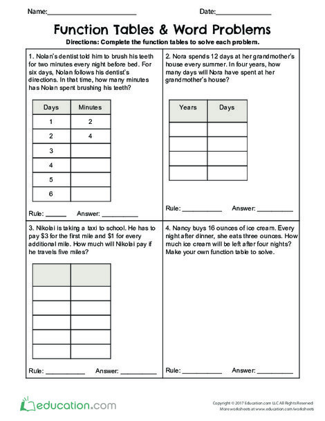 Fourth Grade Math Worksheets: Function Tables & Word Problems