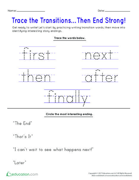 Kindergarten Reading & Writing Worksheets: Trace the Transitions… Then End Strong!
