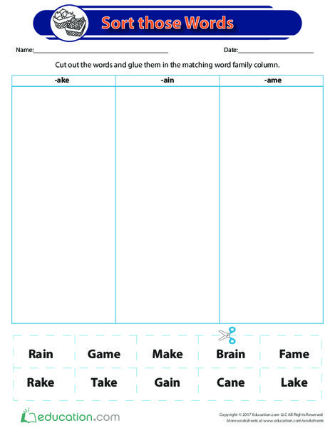 Second Grade Reading & Writing Worksheets: Sorting Those Words