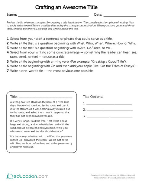 Fourth Grade Reading & Writing Worksheets: Crafting an Awesome Title