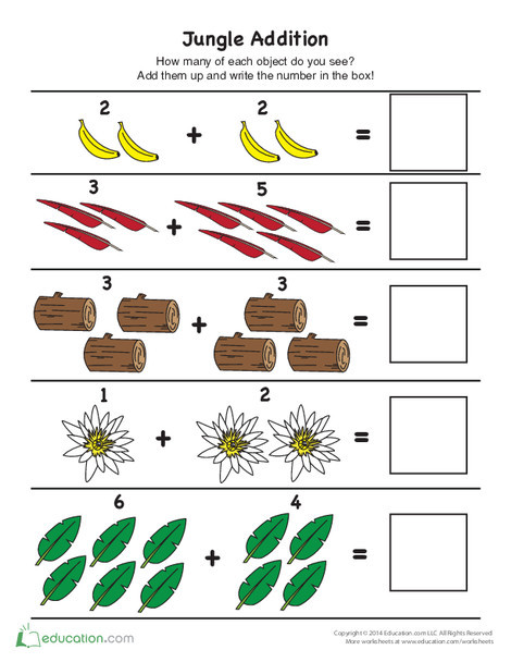 Kindergarten Math Worksheets: Jungle Picture Addition
