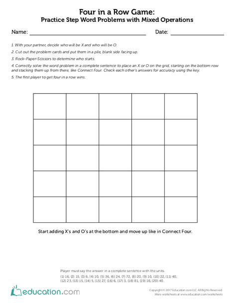 Third Grade Math Worksheets: Four in a Row Game - Practice Two-Step Word Problems with Mixed Operations