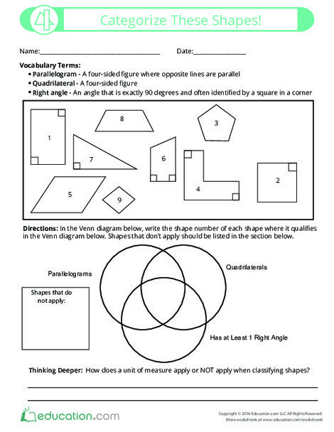 Fifth Grade Math Worksheets: Categorize These Shapes!