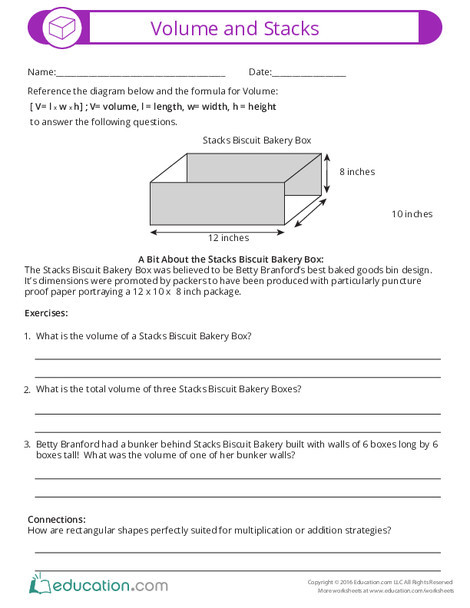 Fifth Grade Math Worksheets: Volume and Stacks