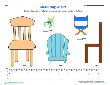 Second Grade Math Worksheets: Measuring Chairs
