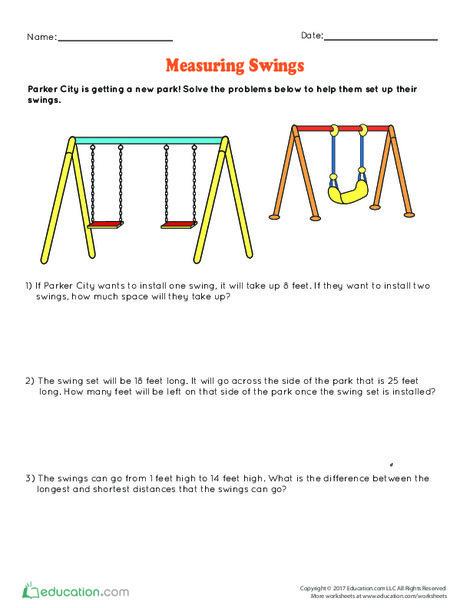 Second Grade Math Worksheets: Measuring Swings