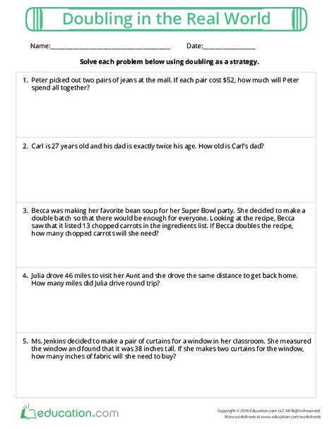 Fifth Grade Math Worksheets: Doubling in the Real World