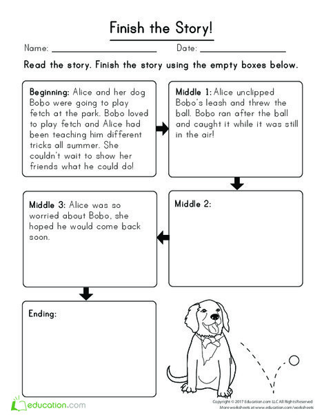 First Grade Reading & Writing Worksheets: Finish the Story: Alice and Bobo