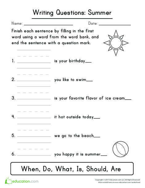 First Grade Reading & Writing Worksheets: Writing Questions: Summer