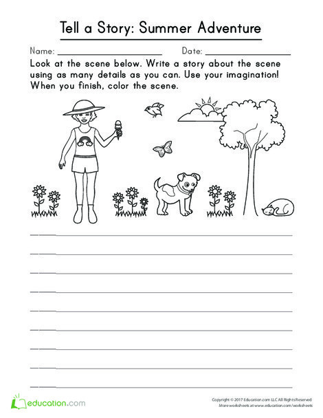 First Grade Reading & Writing Worksheets: Tell a Story: Summer Adventure