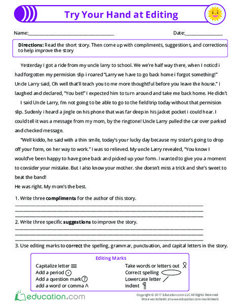 Third Grade Reading & Writing Worksheets: Try Your Hand at Editing