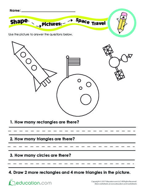 First Grade Math Worksheets: Shape Pictures: Space Travel