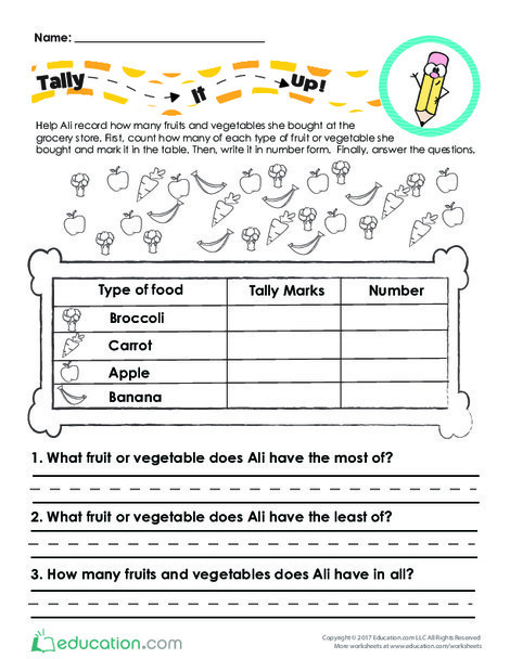 First Grade Math Worksheets: Tally It Up at the Grocery Store!