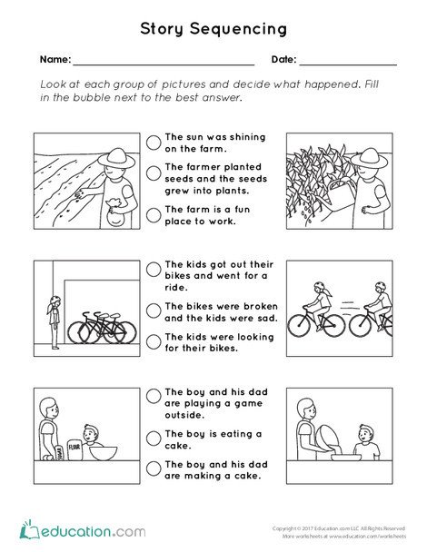 First Grade Reading & Writing Worksheets: Story Sequencing