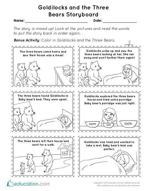 First Grade Reading & Writing Worksheets: Goldilocks and the Three Bears Storyboard