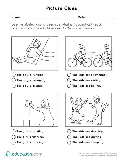 First Grade Reading & Writing Worksheets: Picture Clues