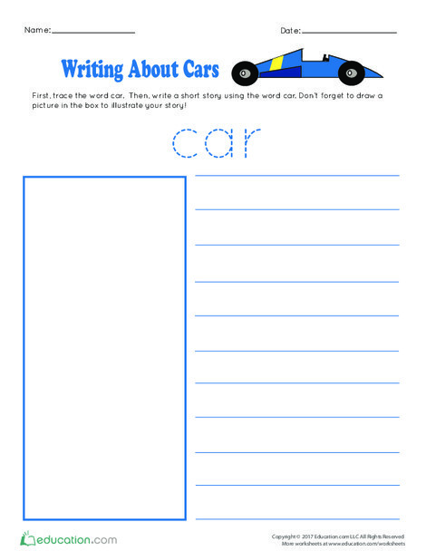 Preschool Reading & Writing Worksheets: Writing About Cars