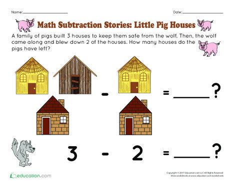 Preschool Math Worksheets: Math Subtraction Stories: Little Pig Houses