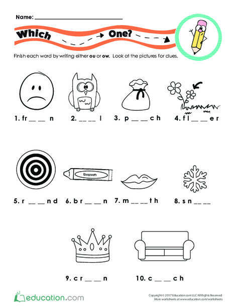 First Grade Reading & Writing Worksheets: Which Diphthong?