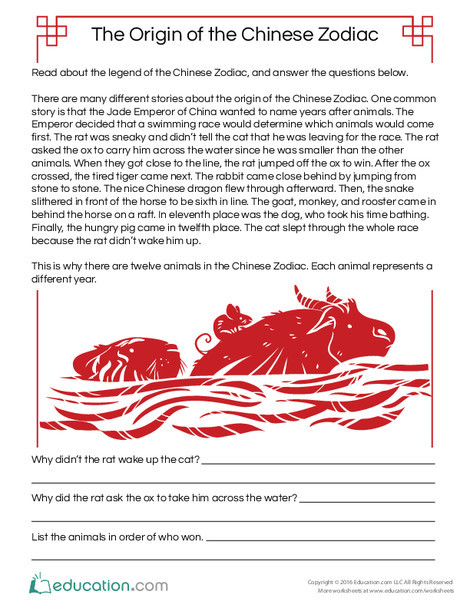 Fifth Grade Reading & Writing Worksheets: Origin of the Chinese Zodiac Reading Comprehension