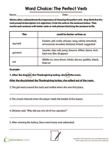 Fifth Grade Reading & Writing Worksheets: Word Choice: The Perfect Verb