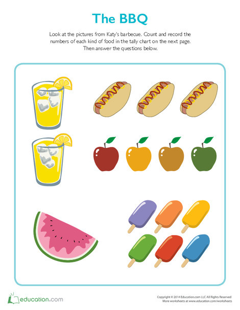 Second Grade Math Worksheets: The BBQ Tally