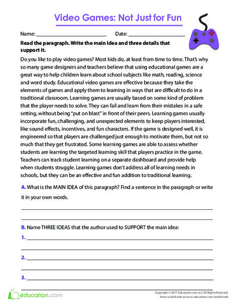 Fifth Grade Reading & Writing Worksheets: Video Games: Not Just for Fun