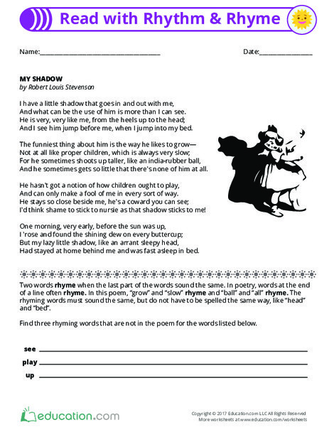 Fourth Grade Reading & Writing Worksheets: Read With Rhythm and Rhyme
