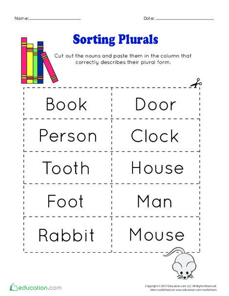 Second Grade Reading & Writing Worksheets: Sorting Plurals