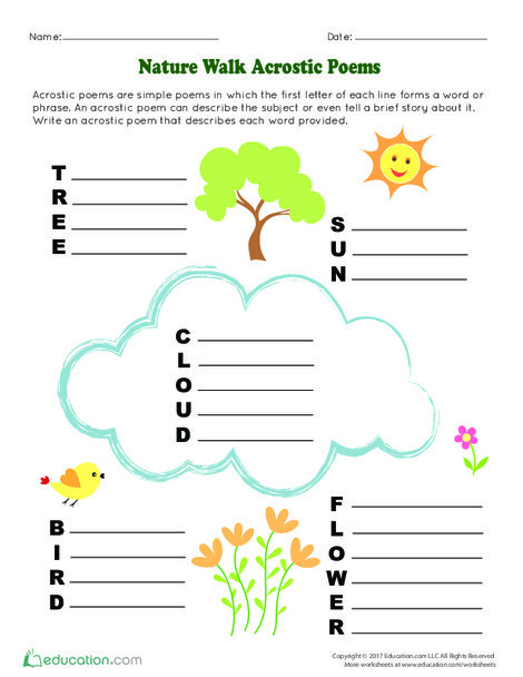 Kindergarten Reading & Writing Worksheets: Nature Walk Acrostic Poems