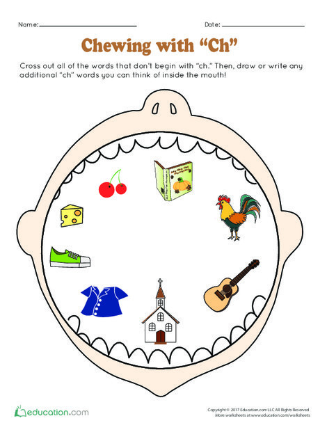 "Preschool Reading & Writing Worksheets: Chewing with ""Ch"""