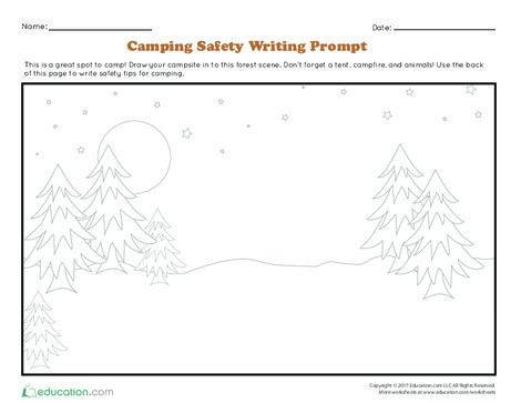 Kindergarten Reading & Writing Worksheets: Camping Safety Writing Prompt