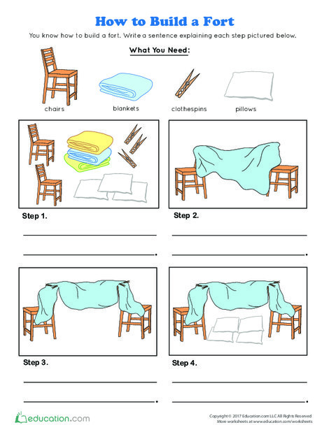 Kindergarten Reading & Writing Worksheets: How to Build a Fort