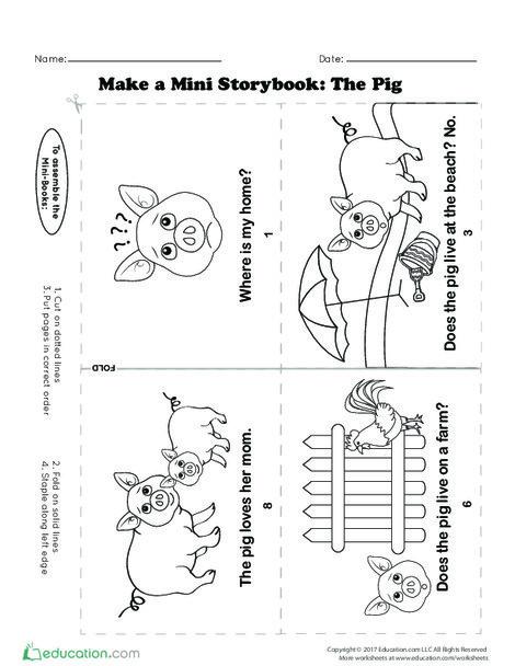 Kindergarten Reading & Writing Worksheets: Make a Mini Storybook: The Pig