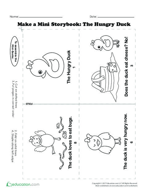 Kindergarten Reading & Writing Worksheets: Make a Mini Storybook: The Hungry Duck